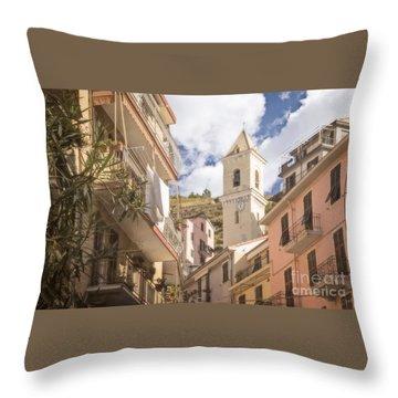 Duomo Bell Tower Of Manarola Throw Pillow