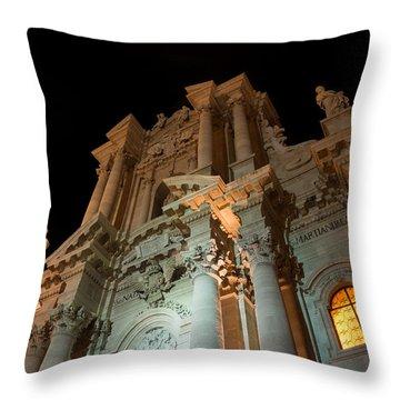 Duomo - Cathedral - Siracusa - Syracuse - Sicily - Italy Throw Pillow by Georgia Mizuleva