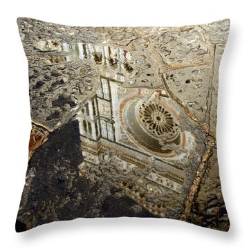 Duomo Reflected In Rain  I I Throw Pillow by Caroline Stella