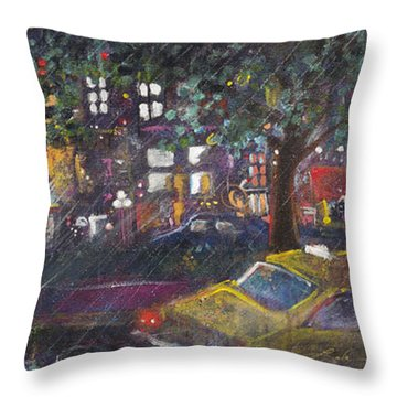 Dupont In The Rain Throw Pillow by Leela Payne