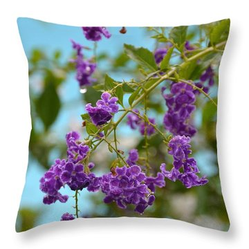 Throw Pillow featuring the photograph Duranta- Fresh Morning by Darla Wood