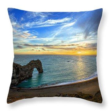 Durdle Door Sunset Throw Pillow by Ian Good