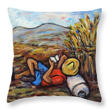 Throw Pillow featuring the painting During The Break by Xueling Zou
