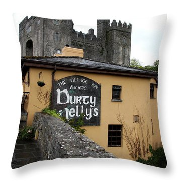 Durty Nellys And Bunraty Castle Throw Pillow by Christiane Schulze Art And Photography
