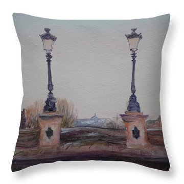 Dusk, 2010 Oil On Canvas Throw Pillow