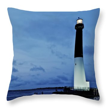 Dusk At Barnegat Lighthouse Throw Pillow
