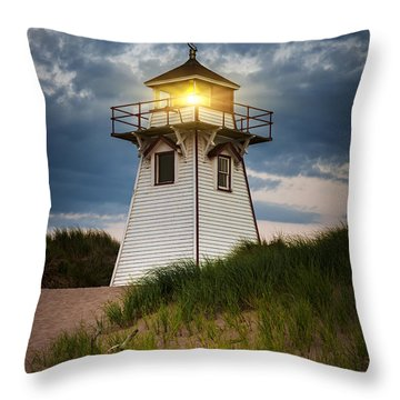 Dusk At Covehead Harbour Lighthouse Throw Pillow