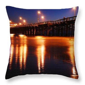 Dusk At Newport Pier Throw Pillow by James Kirkikis