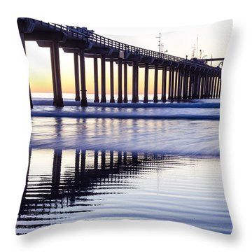 Dusk At Scripps Pier Throw Pillow