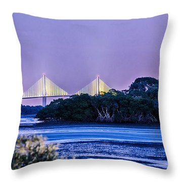 Dusk At The Skyway Bridge Throw Pillow by Michael White