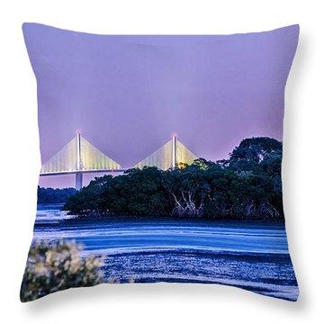 Dusk At The Skyway Bridge Throw Pillow
