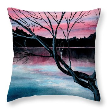 Dusk Lake Arrowhead Maine  Throw Pillow