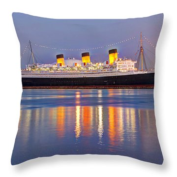 Dusk Light On The Queen Mary Throw Pillow