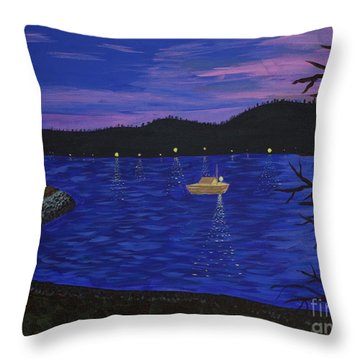 Dusk On Puget Sound Throw Pillow by Vicki Maheu