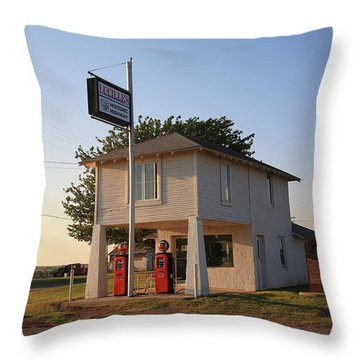 Dusk On Route 66 Throw Pillow by Frank Romeo