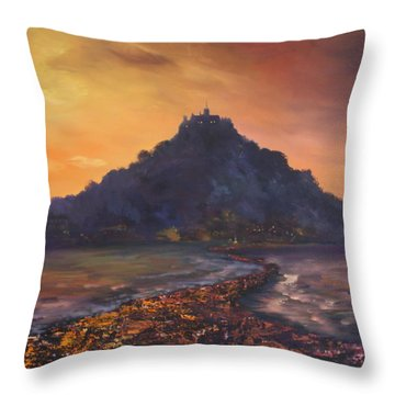 Throw Pillow featuring the painting Dusk Over St Michaels Mount Cornwall by Jean Walker