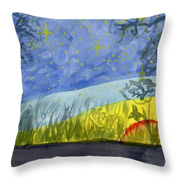 Dusky Scene Of Stars And Beans Throw Pillow