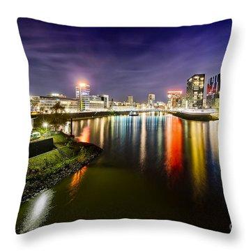 Dusseldorf Media Harbor Skyline Throw Pillow