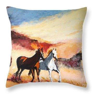Throw Pillow featuring the painting Dust In The Wind by Judy Kay