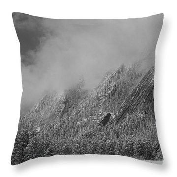 Dusted Flatirons Low Clouds Boulder Colorado Bw Throw Pillow by James BO  Insogna