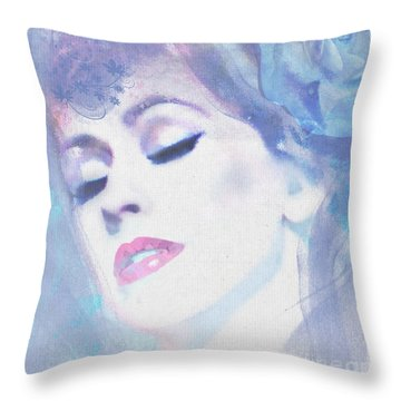 Dusty Blues Throw Pillow by Kim Prowse