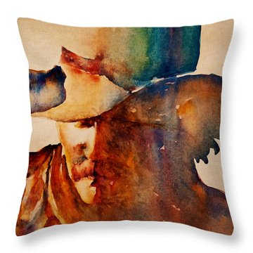 Dusty Cowboy Throw Pillow by Jani Freimann