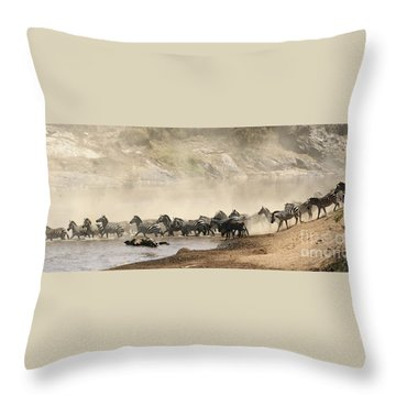 Throw Pillow featuring the photograph Dusty Crossing by Liz Leyden