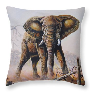 Throw Pillow featuring the painting Dusty Jumbo by Anthony Mwangi