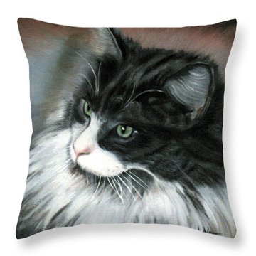 Throw Pillow featuring the painting Dusty  by LaVonne Hand