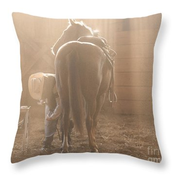 Dusty Morning Pedicure Throw Pillow by Carol Lynn Coronios