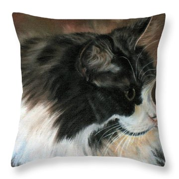 Throw Pillow featuring the painting Dusty Our Handsome Norwegian Forest Kitty by LaVonne Hand