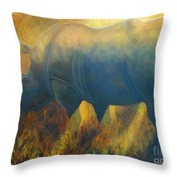 Dusty Rhino Throw Pillow by Caroline Street