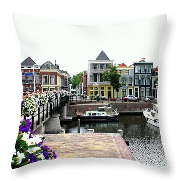 Dutch Cityscape With Boats Throw Pillow by Carol Groenen