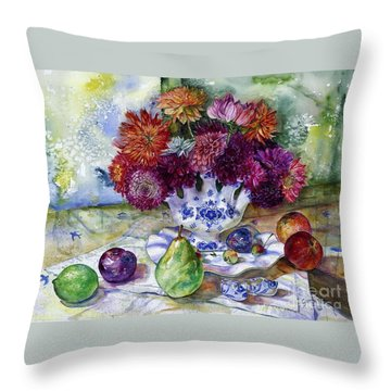 Dutch Dahlia Delights Throw Pillow