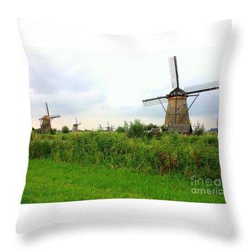 Dutch Landscape With Windmills Throw Pillow by Carol Groenen