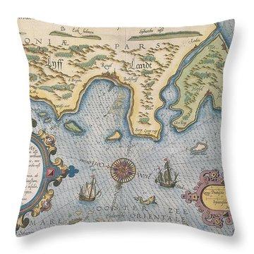 Dutch Trade Map Of The Baltic Sea Hand-coloured Engraving Throw Pillow