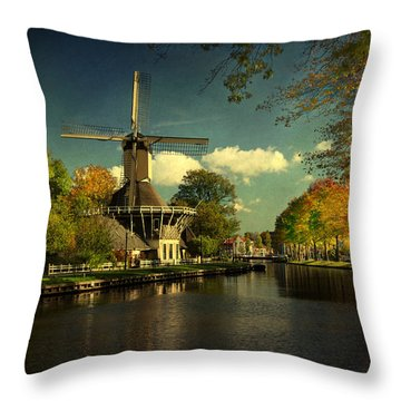 Throw Pillow featuring the photograph Dutch Windmill by Annie Snel