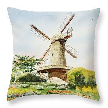 Dutch Windmill In San Francisco  Throw Pillow