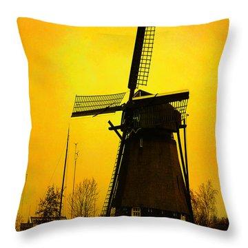 Dutch Windmill - Yellow Throw Pillow by Yvon van der Wijk