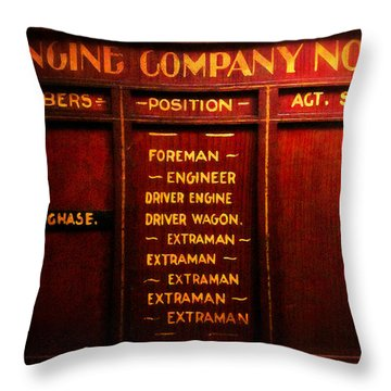 Duty Roster Throw Pillow by Timothy Bulone