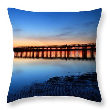 Duxbury Beach Powder Point Bridge Twilight Throw Pillow