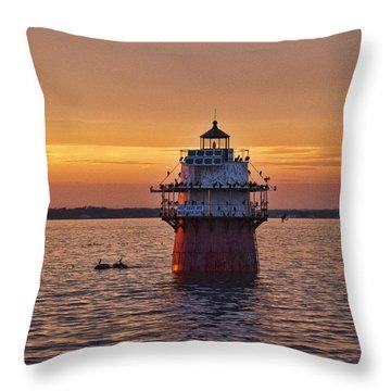Duxbury Pier Light At Sunset Throw Pillow