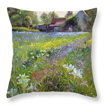 Dwarf Irises And Cottage Throw Pillow