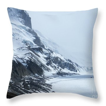 Throw Pillow featuring the photograph Dwarfed By Nature  - Athabasca Glacier by Phil Banks