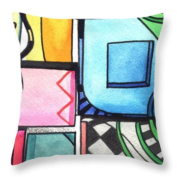 Dwelling In The Square Throw Pillow by Helena Tiainen