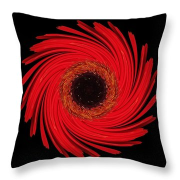 Throw Pillow featuring the photograph Dying Amaryllis Flower Mandala by David J Bookbinder