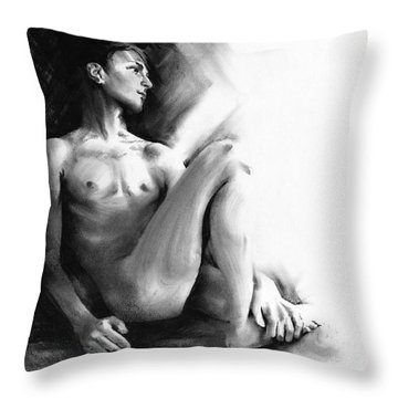 Throw Pillow featuring the drawing Dylan by Paul Davenport