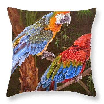 Throw Pillow featuring the painting Dynamic Duo by Phyllis Beiser