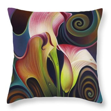 Dynamic Floral 4 Cala Lillies Throw Pillow