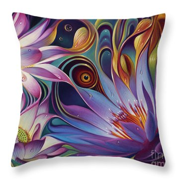 Dynamic Floral Fantasy Throw Pillow